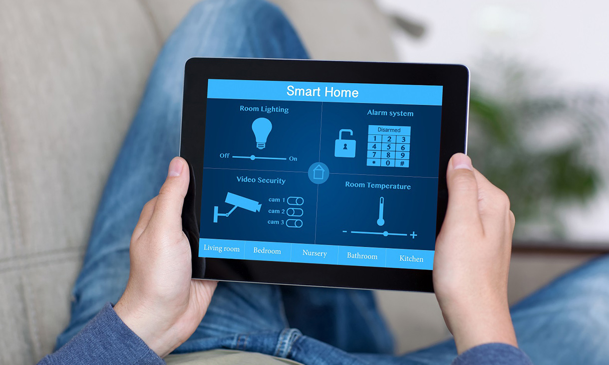 Smart Home security alarm system on a tablet